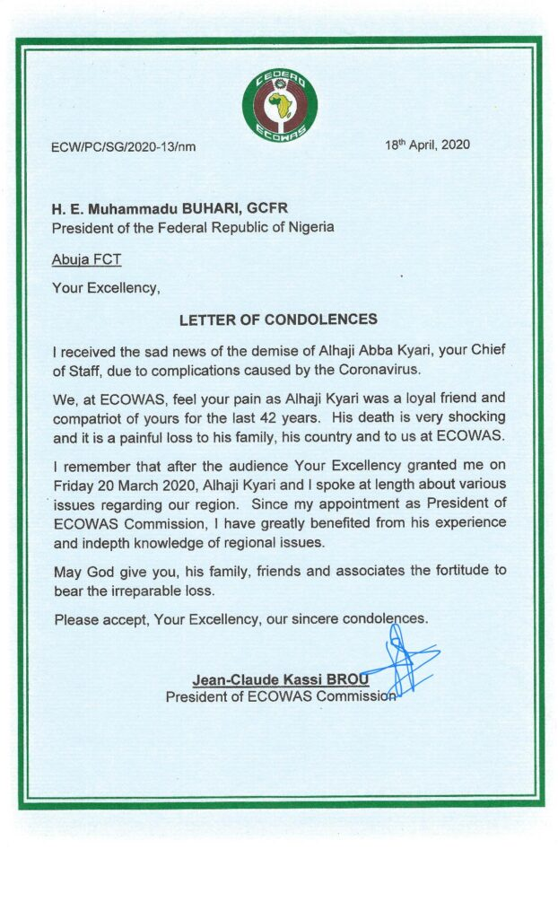 Letter-of-Condolences-to-President-Buhari